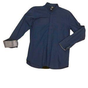 Sergio Barone Slim Fit Mandarin Collar Dress Shirt